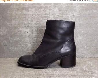 Vtg 90s Black Leather Zipper Block Heel Minimal Ankle Boots 8.5