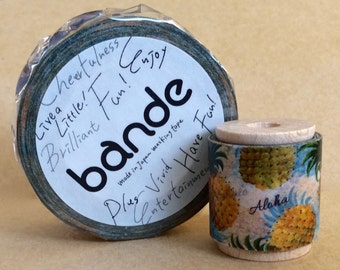 "SALE Designer Washi Tape Mini Spool Single ""Hawaiian Pineapple"" From bande of Japan  25mm width 2 Yards Length."