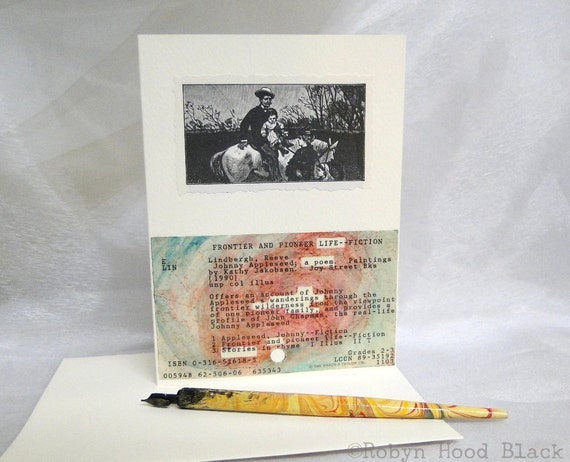 Altered Library Card Greeting Card - LIFE a Poem - with Pocket and Vintage Illustration