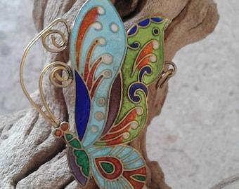 Vintage Cloisonne Butterfly Pendant