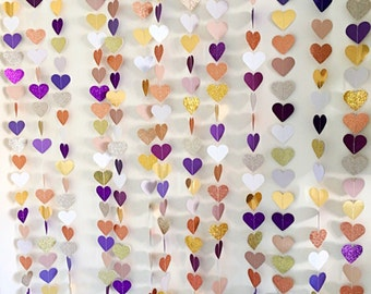 Paper glitter  hearts photo backdrop | wedding decoration | paper bunting | paper garlands | heart garlands | wedding decor |