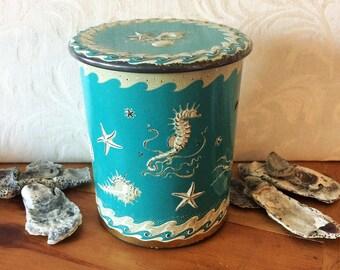 Amazing Aqua Teal Tin Canister Sea Creatures Ocean Life, Seahorse Starfish Shells, Mid Century Vintage Tin Box, Beach House Decor