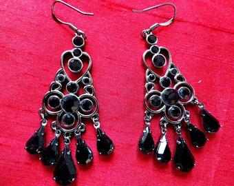 Black chandelier earrings, Art Nouveau style, black glass earrings, faceted glass stones, grey tone metal dangly earrings, gift box