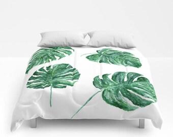 Monstera Leaf Comforter, palm leaf bedding, palm leaf duvet, tropical comforter, palm leaf comforter, monstera leaf duvet, tropical leaves