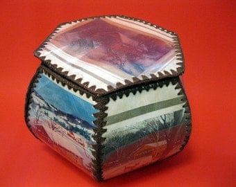Hand Made Hexagonal Christmas Card Box, Made of Covered Bridge Christmas Cards Sewn Together