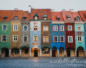 European Photography, Europe Prints, Poznan Images, Poland, Row Housing, Colorful Wall Art, Historic Art, Cobblestone, Canvas Prints, Travel