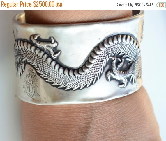 SALE 40% OFF Antique Wang Hing Chinese Export Dragon Art Nouveau Solid Sterling Silver 925 Repurposed Wide Cuff Bracelet Rare Bangle Asia As