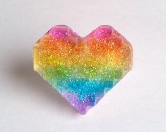 Rainbow Glitter Pixel Heart Ring - Kawaii Ring Kawaii Jewelry Pop Kei Jewelry Decora Jewlery Resin Ring Gyaru Jewelry Oshare Kei Resin Heart