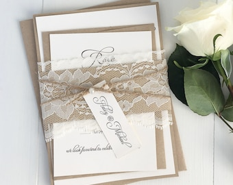 Charming Rustic Lace Wedding Invitations. Lace Wedding Invitation. Country Wedding.  Kraft Wedding Invitation, Nice Design
