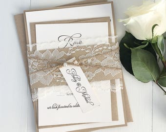 Rustic Wedding Invitations. Lace Wedding Invitation. Country Wedding. kraft Wedding Invitation, Wedding Invitation Suite, Rustic Wedding