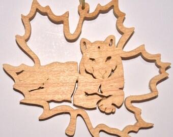 Ornament Forest Leaf Cougar