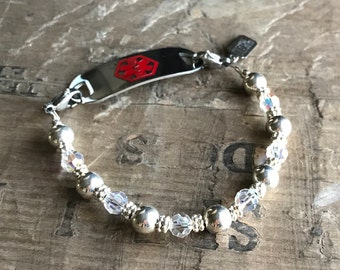 Silver & Crystal Medical Bracelet - Includes FREE Medical ID tag with Engraving Diabetic Allergy Alert