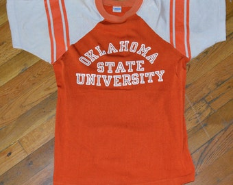 1970's OKLAHOMA STATE University The Cowboys vintage orange college jersey t-shirt Small (S) 70's Champion Blue-Bar mens tee tshirt Gift