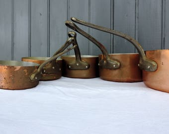 Les Cuivres de Faucogney, 1mm copper graduated cooking pots, sauce pans, cast iron handles, tin lining, vintage french professional pans