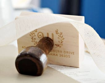 Monogram Address Stamp – Wedding Invitation Stamp – Family Address Stamp – Wreath Address Stamp – Wooden Address Stamp