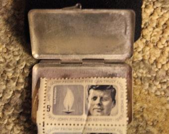 1960's Era John Fitzgerald Kennedy Memorial/ Commemorative Stamps (2-Piece Set w/ Metal Holder)