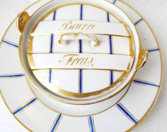French Country Kitchen Vintage Butter Dish - Beurre Frais Blue and White Shabby