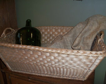Large Antique French Wicker Basket Laundry Market Excellent Condition Rectangular Deep Handles