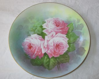 "Antique Limoges France A. Broussillon Hand Painted 12"" Plate Plaque Pink Roses (c. 1906-1920)"