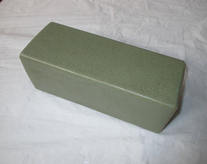 "McCoy Floraline 9-inch ""Squared Cylindrical Vase"" Model #446, Green, Brown Specks (c. 1960s)"