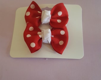 Red with white polka dots set of two small girls bows