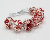 Clear Hollow Beads with Red Scroll,  Handmade Lampwork Glass Beads, Set of 7, Christmas beads