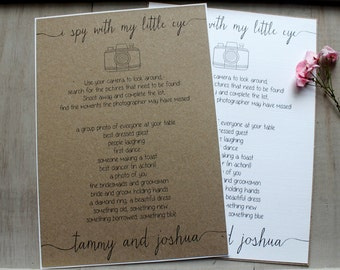 Wedding I Spy Camera Poster Sign Vintage/Shabby Chic Style Table Games Checklist Personalised
