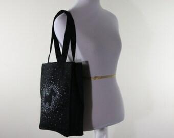 Black Canvas Bag Dog Design FREE SHIPPING