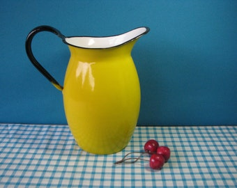 Mid Century Enamel Pitcher - 8 Inches Tall -Yellow Enamelware - Vintage  1960's