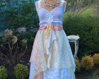 Shabby Woodland Fairytale Dress Handmade Tattered Lace Fantasy