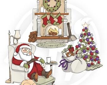 Art Impressions Tri Fold Sleepy Santa Rubber Stamp