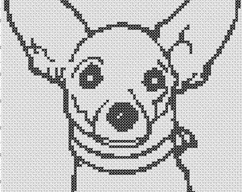Chihuahua Easy Cross Stitch Pattern 1 Color  PDF Pattern