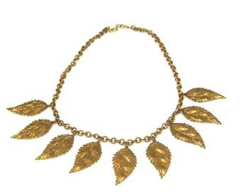 Vintage Copper Leaf Charm Necklace 1960s