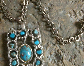 Vintage Long Chunky Turquoise Necklace