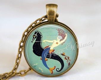 ART DECO Jewelry MERMAID Necklace Pendant Keychain Vintage Antique Seahorse Sea Horse Fish Nautical Blue Turquoise Altered Art