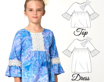 Top Patterns, Dress Patterns, Girls Dress Pattern PDF, Girls Sewing Pattern pdf, Tunic Pattern, Dress Pattern, Top Pattern , ANKE