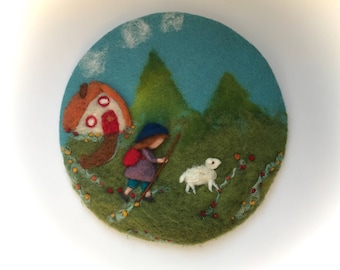 The shepherd boy, Picture,tapestry,Wet felted,Needle Felted. Waldorf