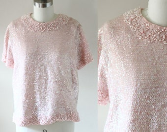 1960s soft pink sequin blouse // 1960s beaded top // vintage sequin blouse