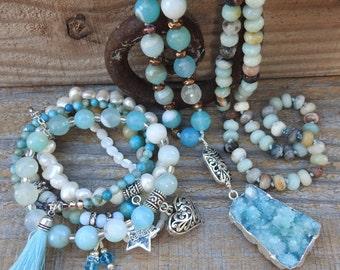 Boho jewelry set Necklace bracelet set Beaded jewelry set Gemstone necklace bracelet set Matching jewelry set Aqua blue necklace bracelet