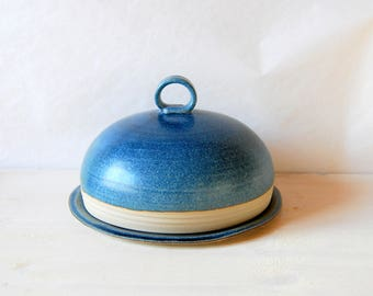 Butter dish with lid Ceramic butter dish Lidded butter dish Serving butter Ceramic and pottery Blue ceramic Handmade butter bell