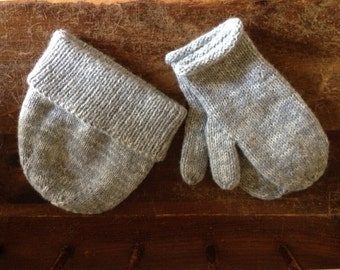 Gray Heather Hat and Mittens Set