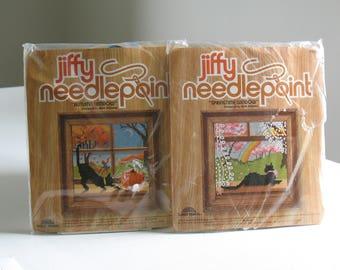 Vintage NOS Jiffy Needlepoint Kit Cats / Autumn Window and Springtime Window / retro cross stitch craft kits / boho home decor