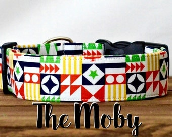 """Colorful Colorful Flag Inspired Dog Collar """"The Moby"""""""