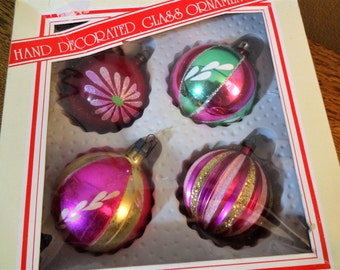 Vintage Fancy Dark Pink Mercury Glass Ornaments - Box of 4 - Hand Painted - Mica - Poland - Italy -  Cottage Chic Ornaments