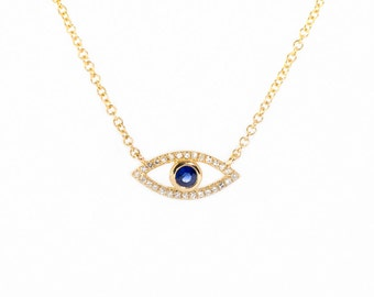 14K Gold Evil Eye Necklace Diamond and Sapphire/Cute/Dainty