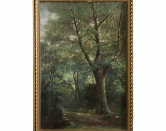 French Barbizon School Antique Painting of Forest Scene, 19th century
