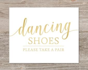 Flip Flop Wedding Signs Printable // Gold Wedding Signs // Printable Dancing Shoes Sign // Instant Download