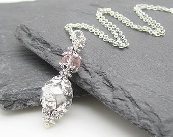 Silver and Pink Bridesmaid Necklace, Silver Crystal Jewellery, Pink and Grey Wedding, Bridesmaid Sets, Bridal Party Gifts