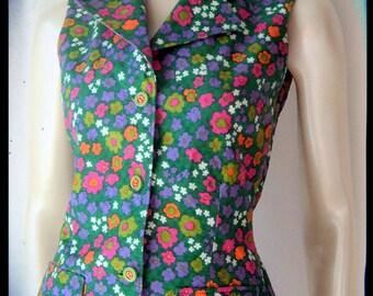 Flower print 1960's Vintage vest