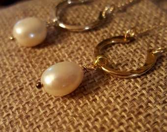 SageAine: Baroque Pearl  Gold Hammered Horseshoe Necklace, Faith, Charity, Purity, Gift for her